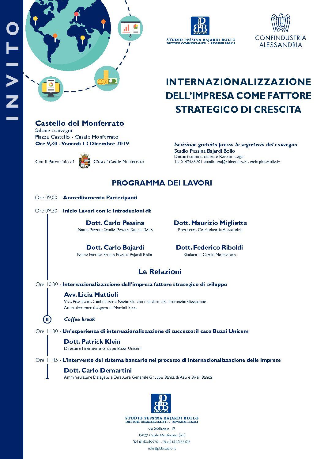 INTERNAZIONALIZZAZIONE DELL'IMPRESA COME FATTORE STRATEGICO DI CRESCITA